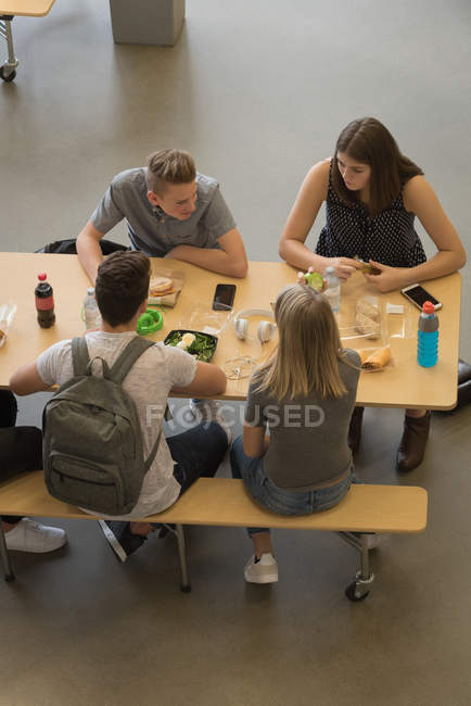High angle view of university students having lunch — Stock Photo