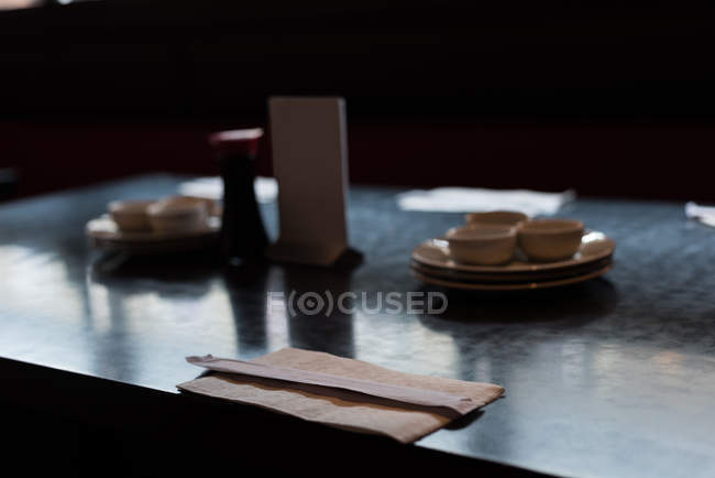 Sushi table arranged in a restaurant on a sunny day — Stock Photo