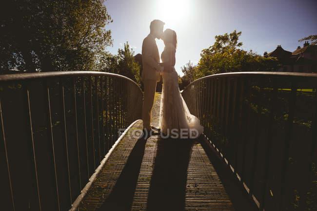 Noiva e noivo beijando na passarela no jardim em um dia ensolarado — Fotografia de Stock