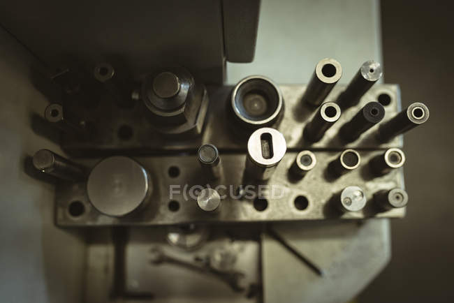 Overhead view of machine parts in the factory — Stock Photo