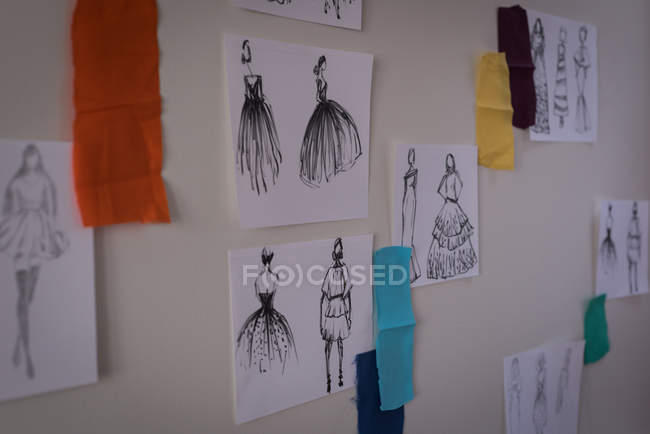 Sketches of design on wall in design studio. — Stock Photo