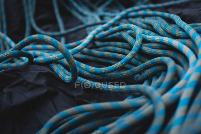 Закри вигляд синього походи каната тканину — стокове фото