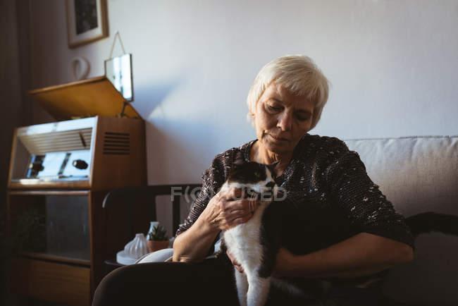 Старшая женщина сидит на диване и гладит своего домашнего кота в гостиной — стоковое фото