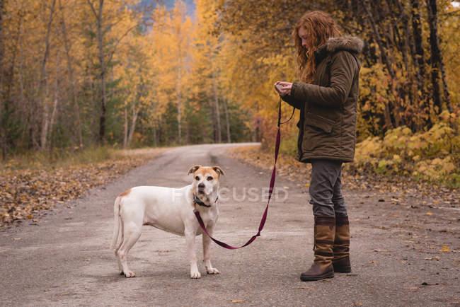 Mulher de pé na estrada com seu cão de estimação durante o outono — Fotografia de Stock