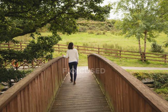 Vista posteriore passeggiando sul ponte pedonale in una giornata di sole — Foto stock