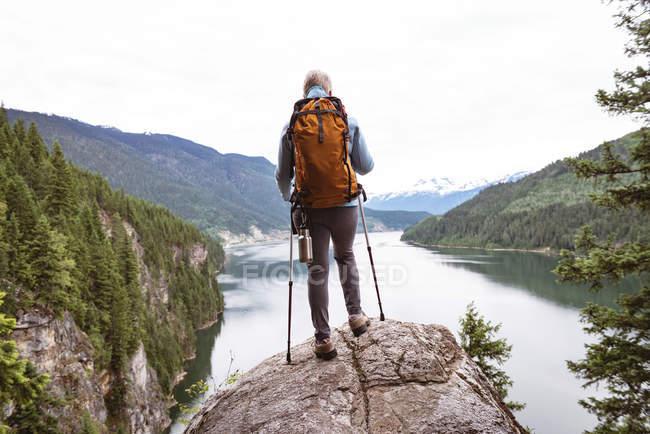 Vista trasera de la mujer madura de pie en la roca y mirando a la hermosa montaña - foto de stock