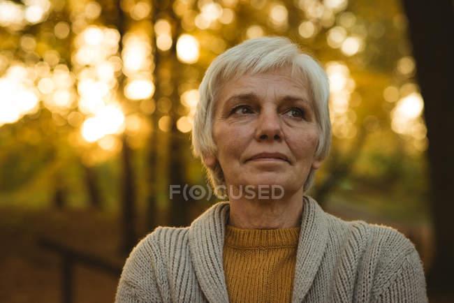 Close-up mulher sênior pensativo no parque de outono — Fotografia de Stock