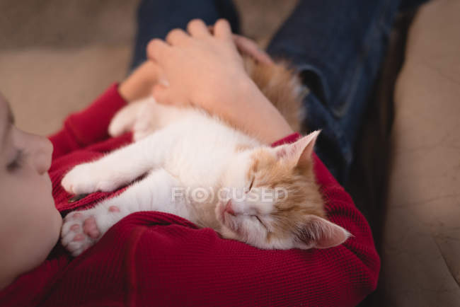 Boy holding her cat in living room at home — Stock Photo
