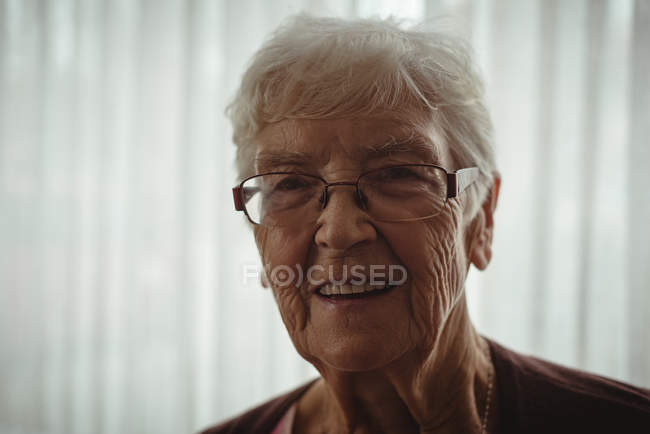 Portrait of smiling senior woman at home — Stock Photo