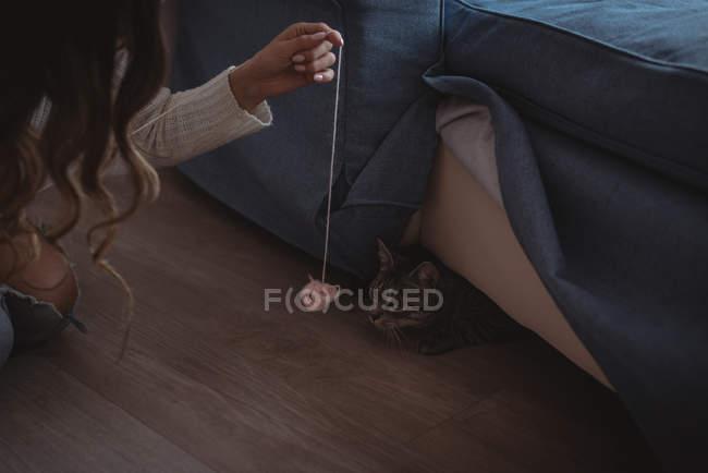 Игривая женщина показывает шар шерсти домашней кошке — стоковое фото