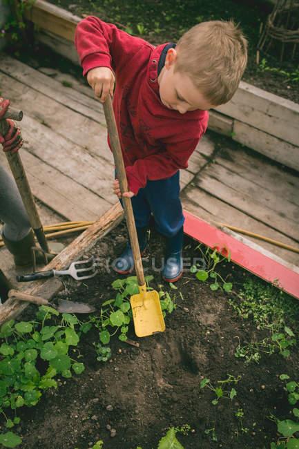 Cute kid digging spade in greenhouse — Stock Photo