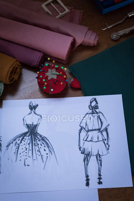 Sketches of design on table in design studio. — Stock Photo