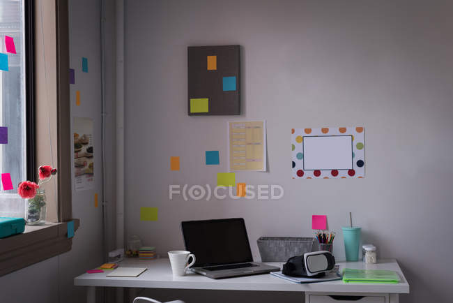 Workplace with desk in modern office of design studio. — Stock Photo