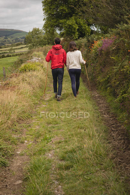 Rear view of couple walking with stick near countryside — Stock Photo