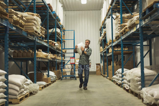 Homme portant un sac de grain en usine — Photo de stock
