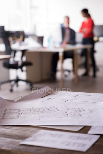 Close-up of blueprints on the table — Stock Photo