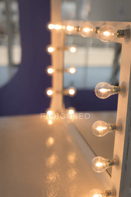 Makeup Mirror With Light In Studio, Mirror With Lights Around It