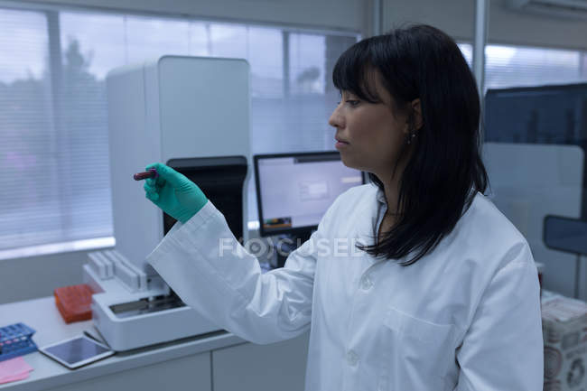 Laboratory technician analyzing chemical solution in blood bank — Stock Photo
