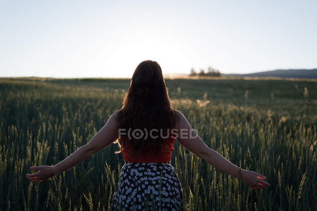 Rear view of woman standing with arms outstretched in the field — Stock Photo