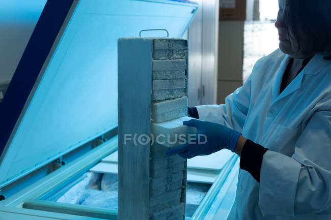 Female scientist removing ice cube in laboratory — Stock Photo