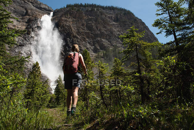 Rear view of woman looking at waterfall — Stock Photo