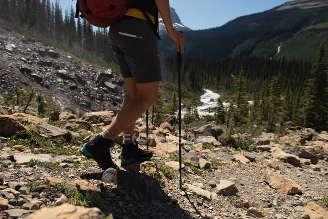 Feminino caminhante andando na montanha, na zona rural — Fotografia de Stock