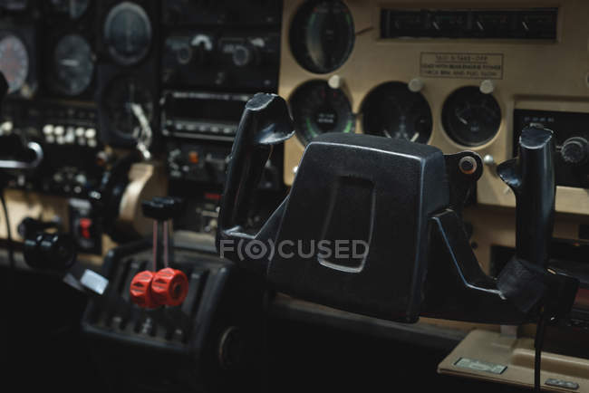 Close-up of aircraft yoke in a cockpit — close up, aircraft