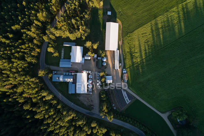 Aerial view of bio gas plant in the field at countryside — Stock Photo