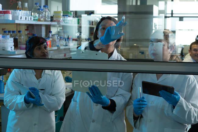 Équipe de scientifiques discutant sur la paroi de verre en laboratoire — Photo de stock