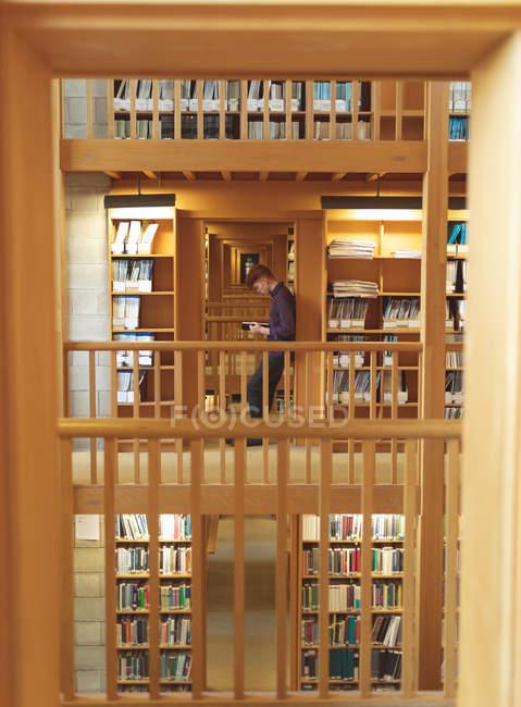Вид сбоку студента колледжа, читающего книгу в библиотеке — стоковое фото
