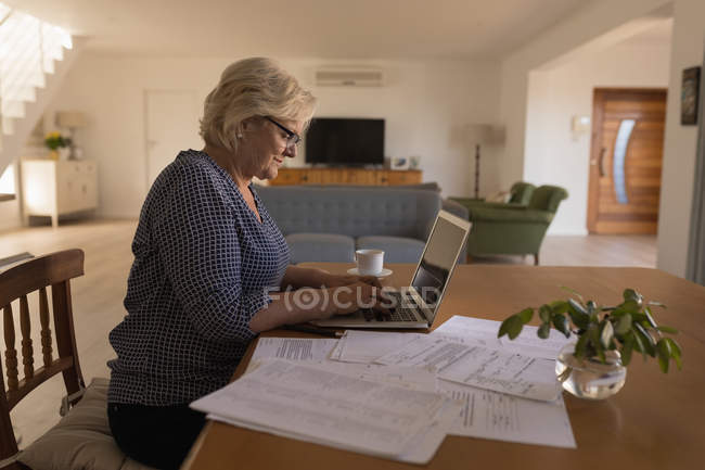 Side view of senior woman using laptop at home — Stock Photo