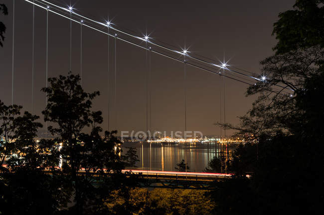 Modern suspension bridge with light trail — Stock Photo