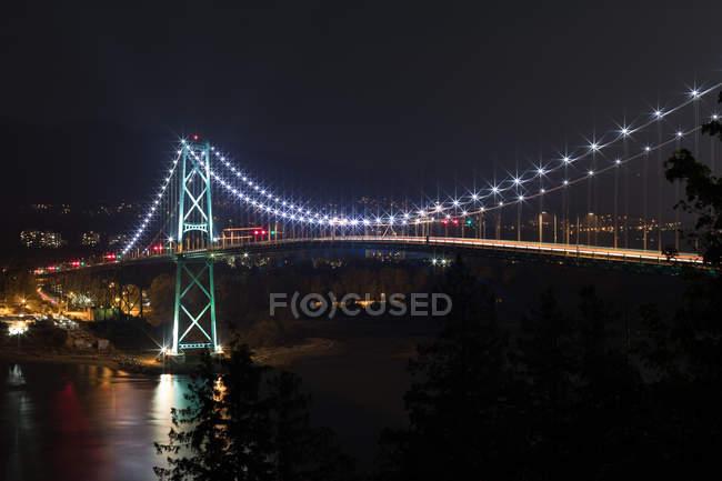 Ponte de suspensão moderno com trilha de luz — Fotografia de Stock