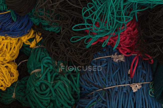 Various bunch of ropes in rope making industry — Stock Photo