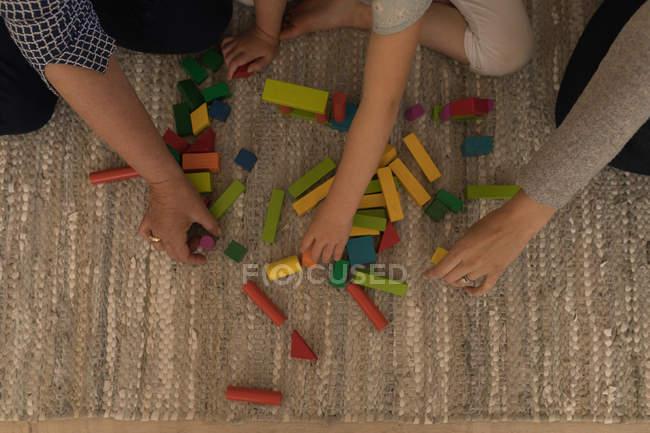 Família de várias gerações brincando com blocos de construção na sala de estar em casa — Fotografia de Stock