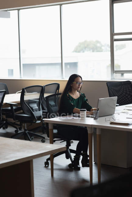 Concentrated businesswoman working on the laptop in office — Stock Photo