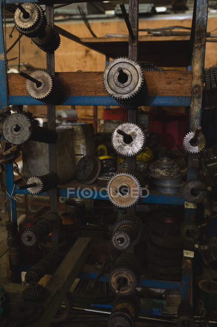 Close-up of machine parts in rope making industry — Stock Photo