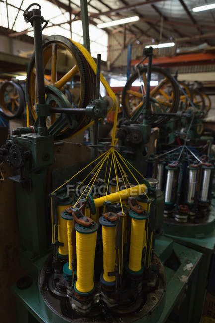 Close-up of thread rolls machine in rope making industry — Stock Photo