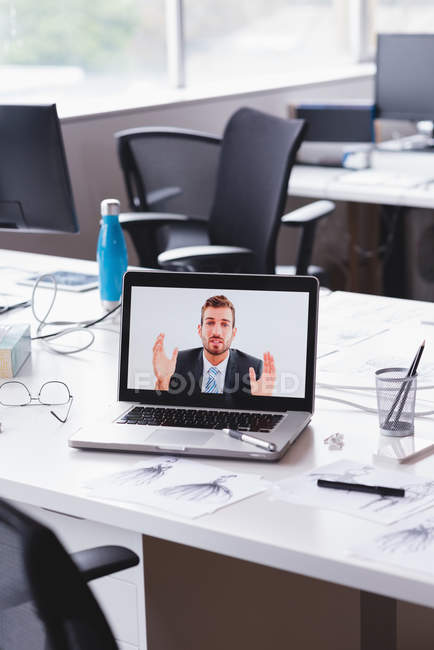Video conference meeting on laptop in office — Stock Photo