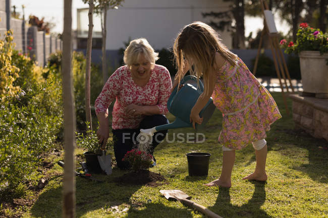 Grandmother and granddaughter planting in the garden on a sunny day — Stock Photo