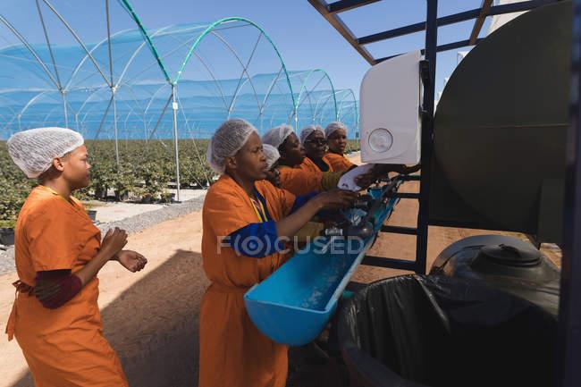 Працівників, що працюють на машині в Чорниця ферма — стокове фото