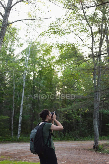 Woman clicking photos with camera in forest — Stock Photo