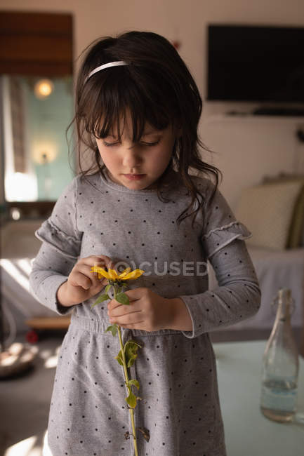 Innocent girl holding a flower at home — Stock Photo