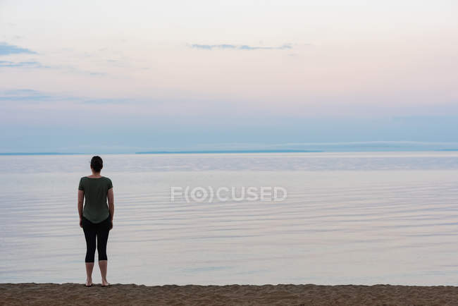 Rear view of woman standing on the beach — Stock Photo