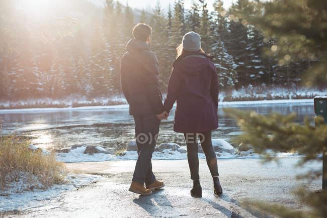Задний вид романтической пары, стоящей у реки зимой — стоковое фото