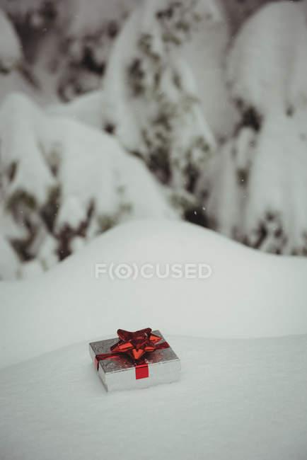 Caja de regalo en un paisaje nevado durante el invierno - foto de stock