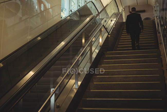 Rückansicht eines Geschäftsmannes mit Tagebuch beim Treppensteigen im Büro — Stockfoto