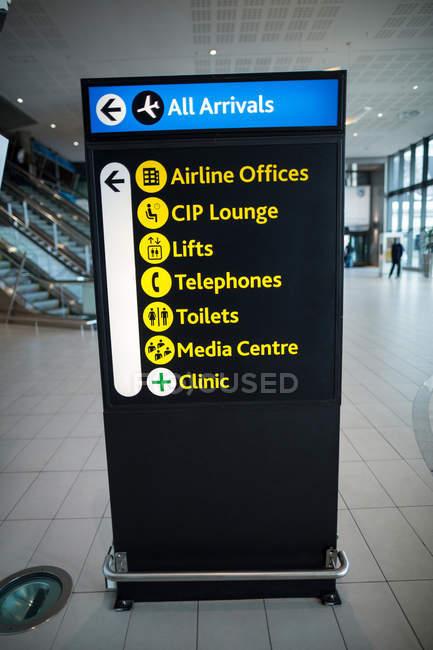 Крупный план информационного табло в аэропорту — стоковое фото