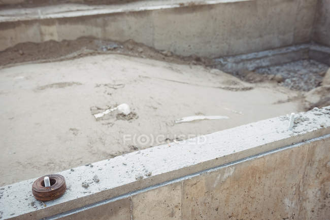 Close-up of concrete foundation at construction site — Stock Photo