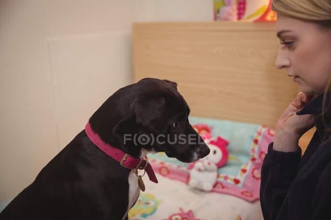 Mulher olhando o cachorro beagle preto no centro de cuidado do cão — Fotografia de Stock